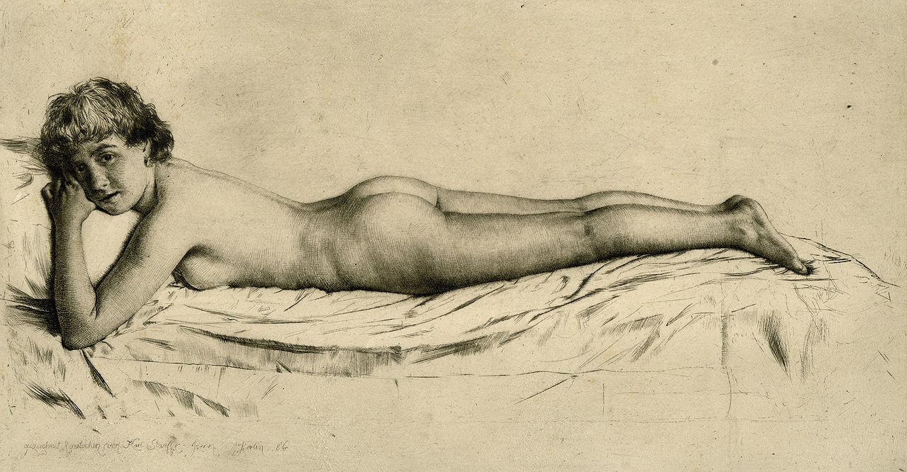 художник / скульптор Карл ШТАУФФЕР-БЕРН (1857-1891) / «Обнажённая девушка»