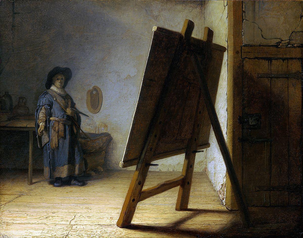 Рембрандт / «Художник в мастерской» / 1628