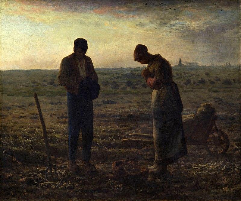 художник Жан-Франсуа МИЛЛЕ (1814-1875) /«Анжелюс», (Работа получила название по первым словам молитвы «Angelus Domini. Ангел Господень». Была выполнена по заказу художника Томаса Эпплтона но по неизвестным причинам он не купил эту картину…)