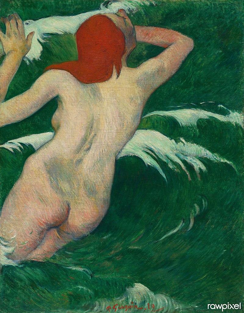художник Поль ГОГЕН (1848-1903) / «В волнах» / 1889