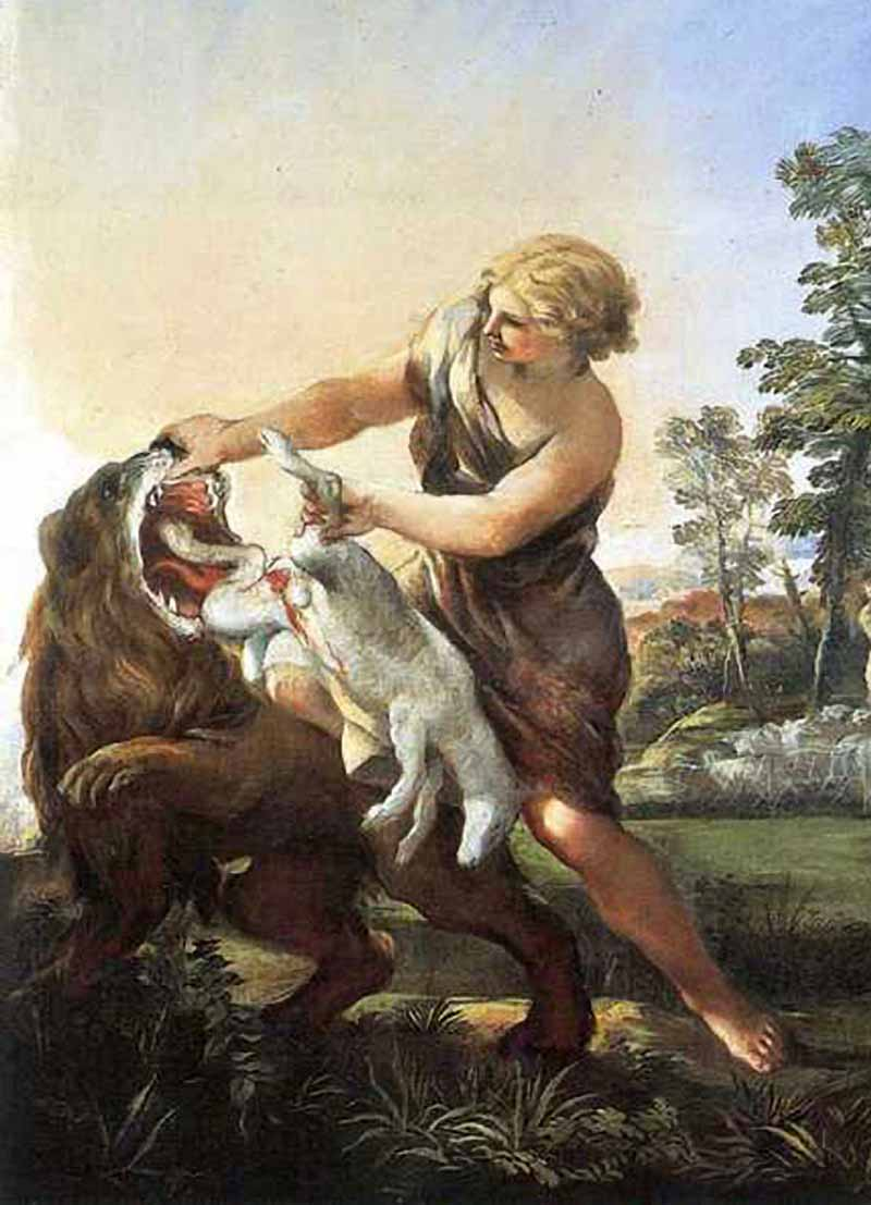 Пьетро да Кортона (Пьетро Берреттини) / «Давид спасает ягненка из пасти льва» / XVIIв.