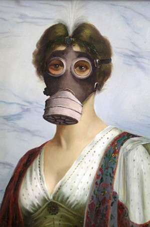 Бэнкси / автор посчитал, что его работа должна висеть в одном из крупнейших музеев мира. Под видом старика он прошёл в The Metropolitan Museum of Art в Нью-Йорке и повесил свою работу «Дама в противогазе» / 2004