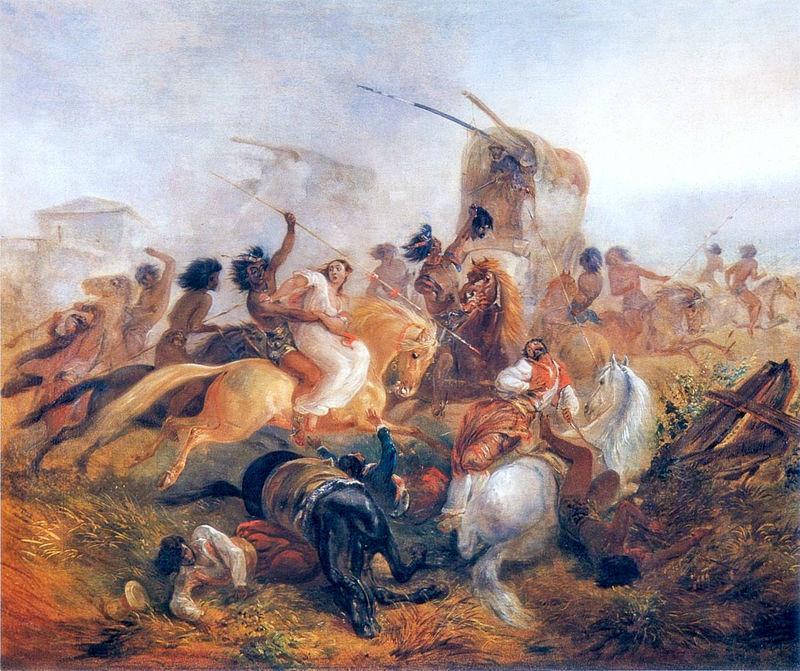 Йоганн-Мориц Ругендас / «Сражение белых с индейцами. Аргентина» / 1846