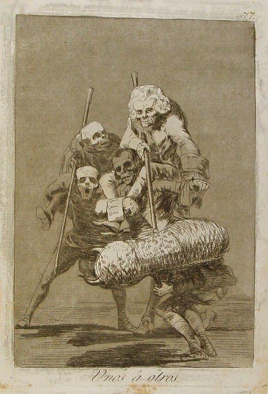Франсиско Гойя / их серии Капричос «Друг дружку», …кто вчера был на месте быка, сегодня — тореро. Фортуна правит фиестой и распределяет роли по своей прихоти./ 1799