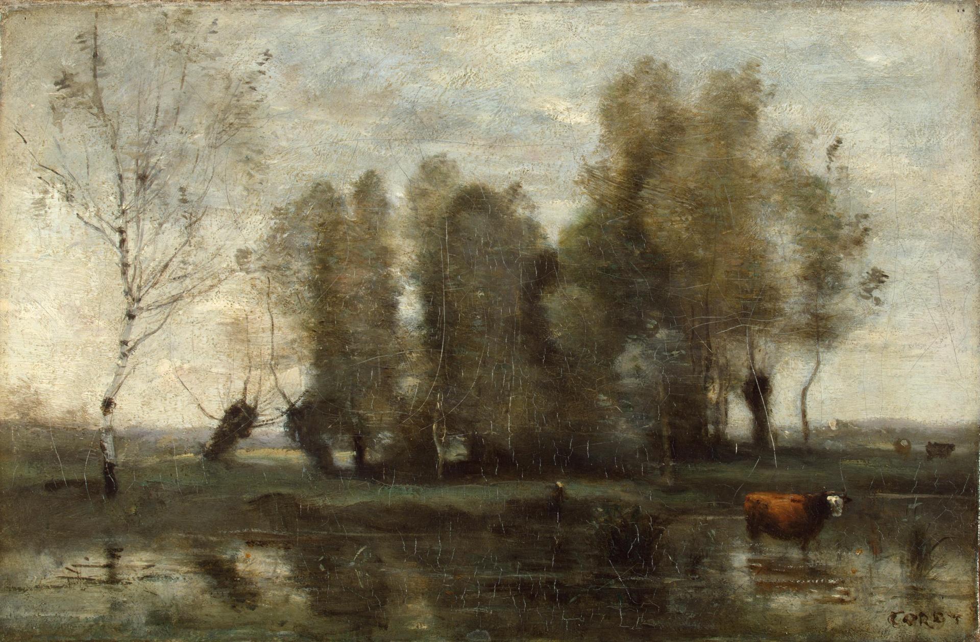 художник Камиль КОРО (1796-1875) / «Деревья среди болота»