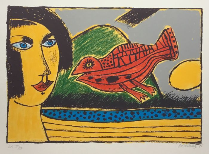 художник / скульптор Гильом Корнелис ван БЕВЕРЛО (1922-2010) / «Красная птица и желтая женщина»