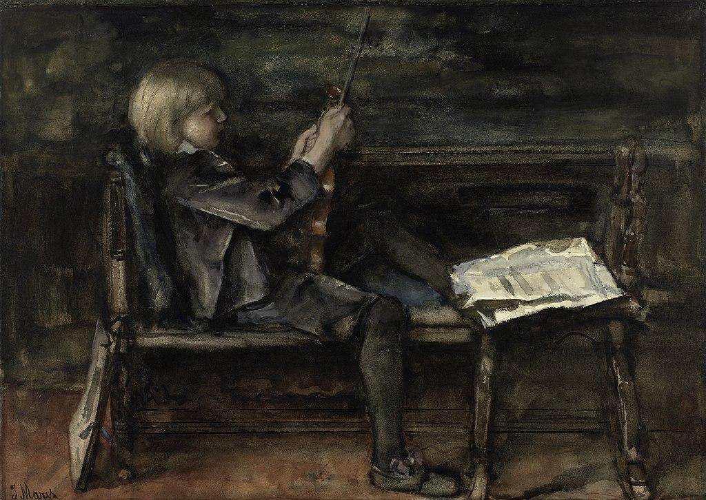 художник Якоб Хендрикус МАРИС (1837-1899) / «Портрет Виллема Маттейса Мариса со скрипкой»