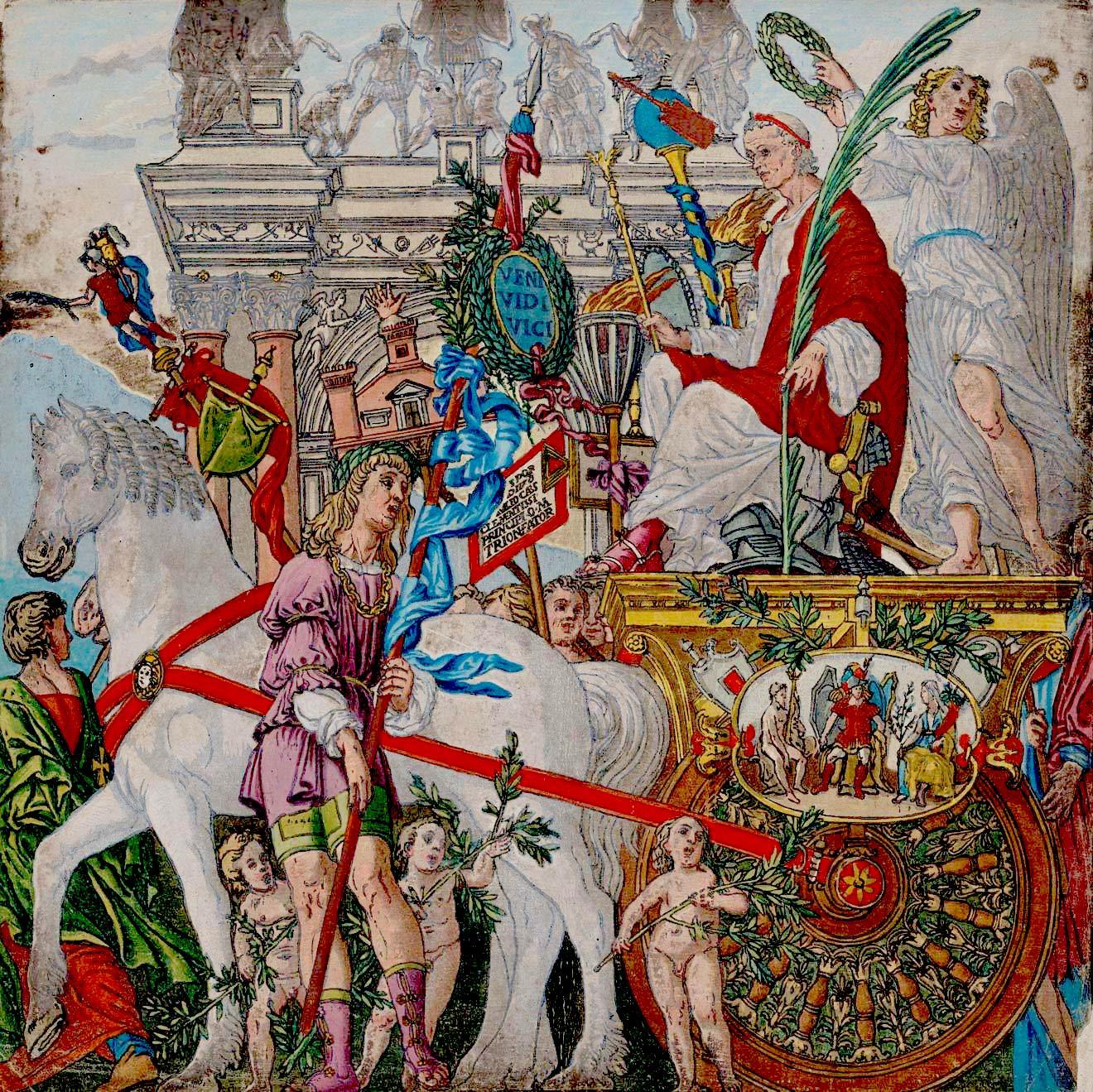 «Триумф Цезаря», раскрашенная гравюра АндреаАндреани / 1599