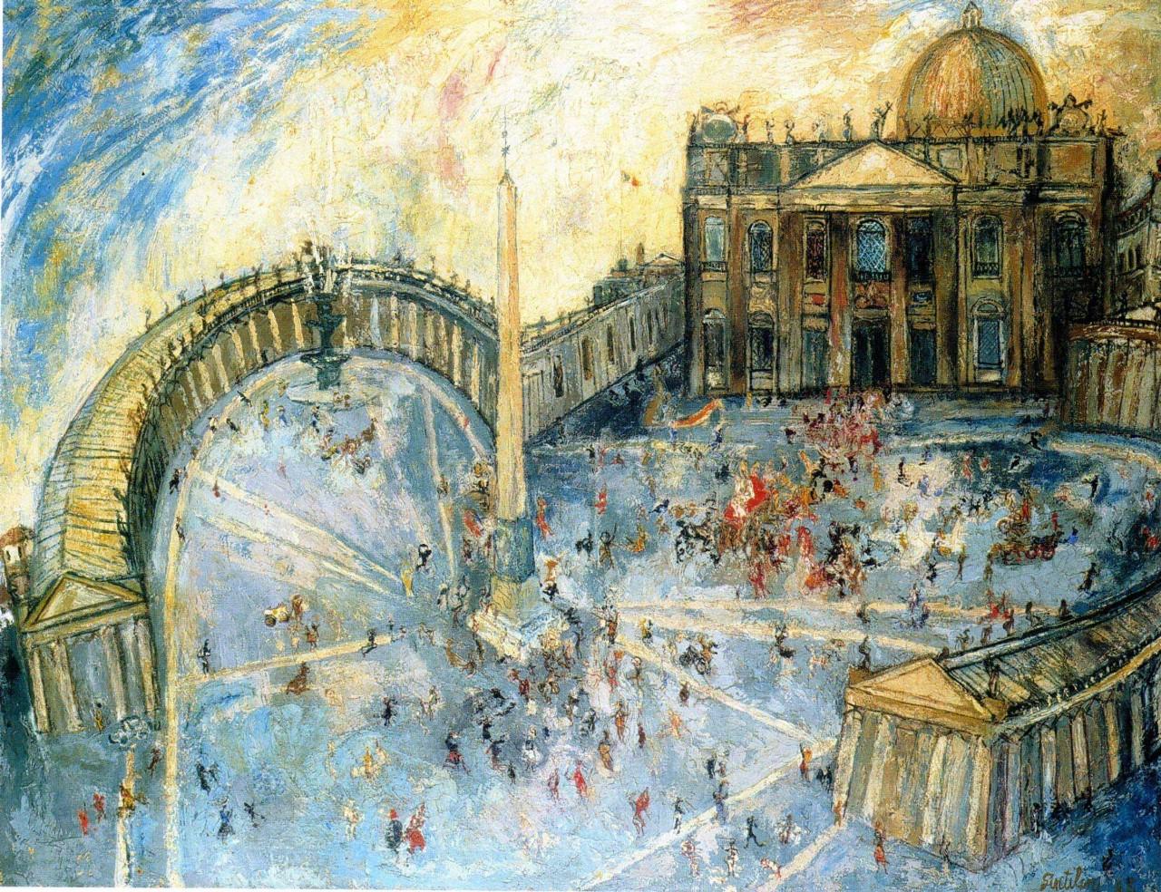 художник Франко ДЖЕНТИЛИНИ (1909-1981) / «Piazza San Pietro»