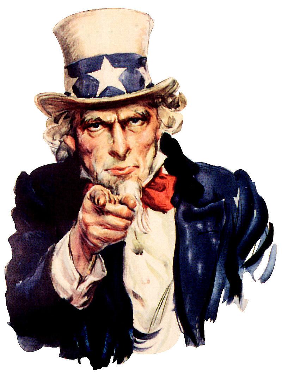 «Ты нужен мне для армии Соединённых Штатов» Д.М.Флэгг, нарисовавший этот плакат в 1917, признался, что использовал своё собственное лицо как модель для Дяди Сэма