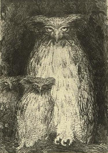 художник Анри де ГРО (1866-1930) / «Три совы»