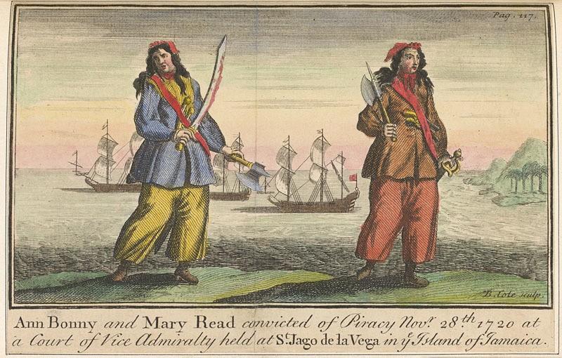 Unknown / «Энн Бонни и Мэри Рид» / гравюра из книги «Всеобщая история грабежей и смертоубийств, учиненных самыми знаменитыми пиратами» / 1724