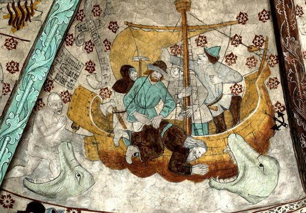 Альбертус Пиктор / «Пророк Иона брошен в море и проглочен большой рыбой», (фреска в церкви Хяркеберга. Швеция) / кон.XVв.