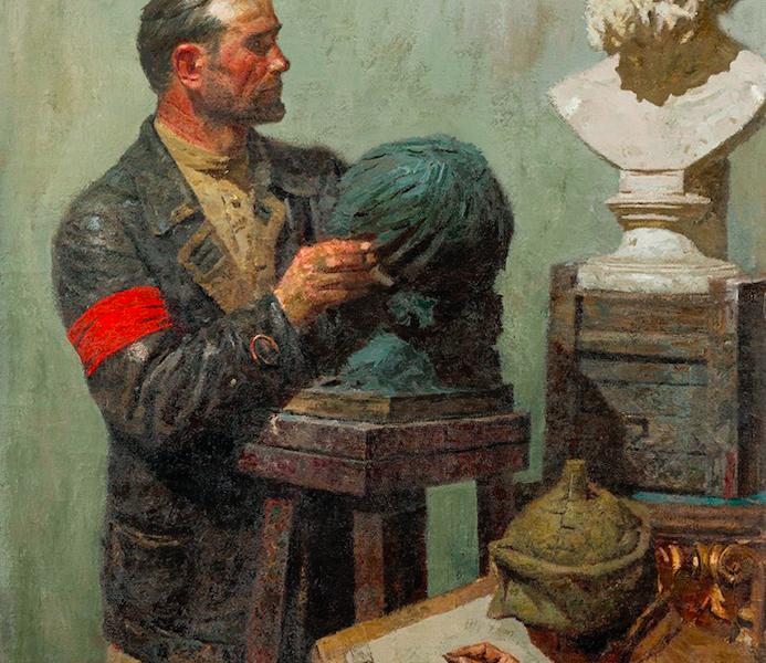 Гелий Коржев / «Коммунисты: Гомер (Рабочая мастерская)», фрагмент левой части триптиха / 1960