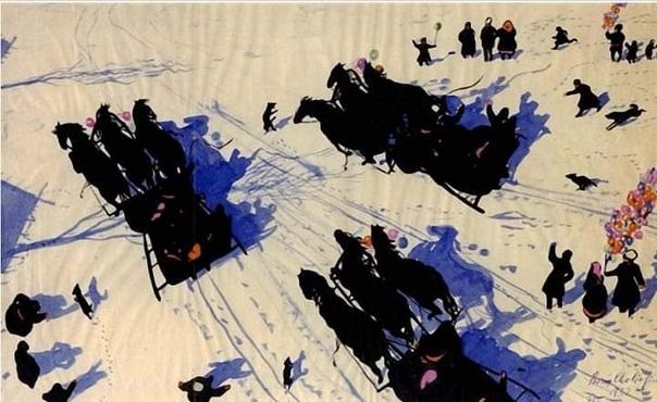 художник Борис Фёдорович ШАЛЯПИН (1904-1979) / «Гонки на Тройках»